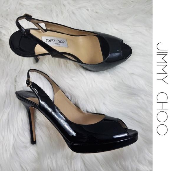 6487f41fcd4 Jimmy Choo Shoes - JIMMY CHOO Nova PeepToe Patent Slingback Heels